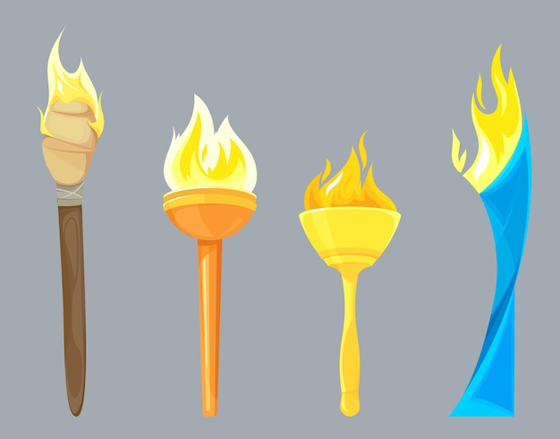 Set of different torches isolated on grey