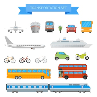 Set of different transportation vehicles isolated on white background. urban transport in flat style design.