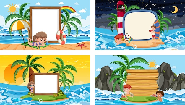 Set of different tropical beach scenes with blank banner