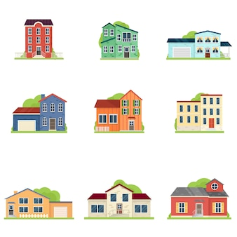 Set of different type of house in village or city apartment