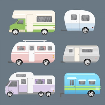 Set of different types camping trailers, travel mobile home. trailers for travel collection isolated on grey color background in flat cartoon style.