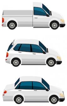 Set di diversi tipi di automobili in colore bianco