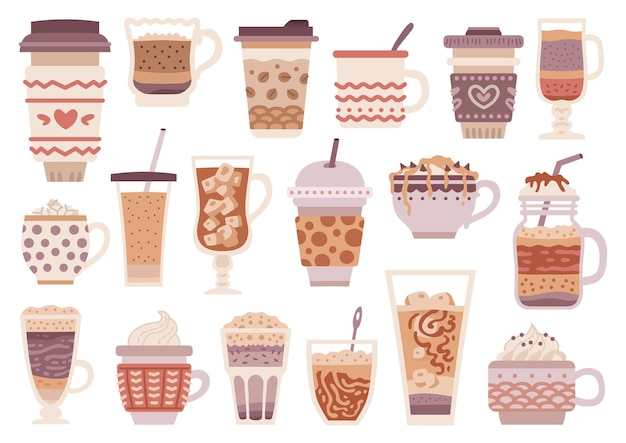 Set of different types of coffee. coffee drink menu. cartoon cup design collection.