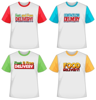 Set of different types of delivery logo screen on different colour t-shirt isolated