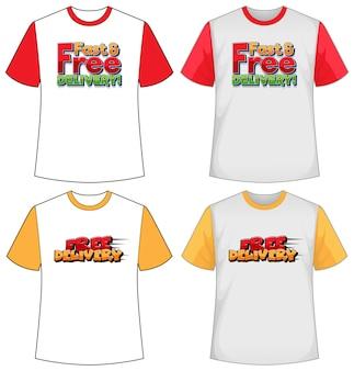Set di diversi tipi di schermo del logo di consegna su t-shirt di colore diverso isolato