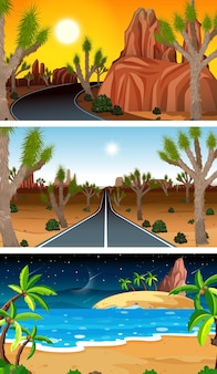 Set of different types of forest horizontal scenes