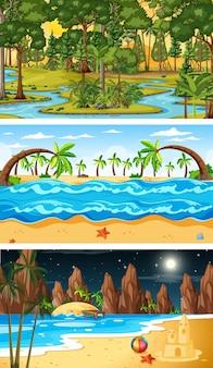 Set di diversi tipi di scene orizzontali della foresta