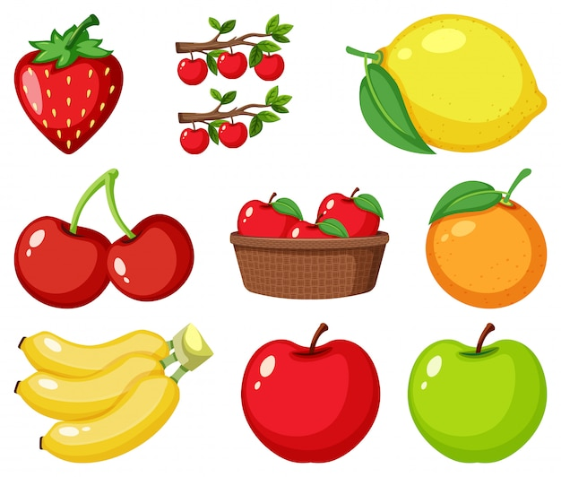Set of different types of fruits