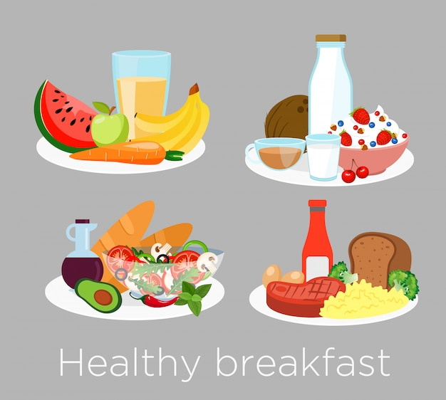 Set of different types of healthy breakfast food in cartoon style. lunch coffee, porridge,orange and morning nutrition, delicious fruits, bread.
