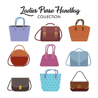 Set of different types of ladies handbag and shoulder bag.