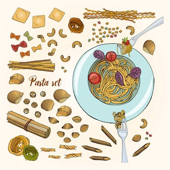 Set of different types pasta. colorful hand drawn collection spaghetti