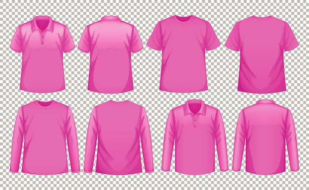 Set of different types of pink shirts