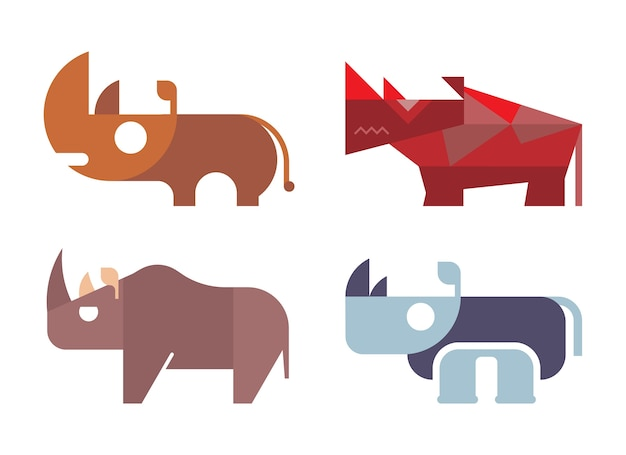 Set of different types of rhinos