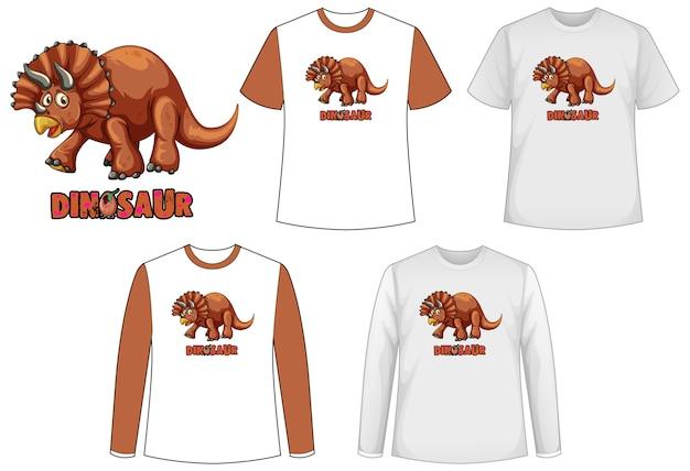 Set di diversi tipi di magliette in tema di dinosauri con logo di dinosauro