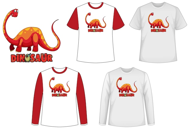Set of different types of shirt in dinosaur theme with dinosaur logo