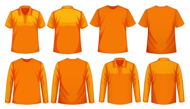 Set of different types of shirt in same color