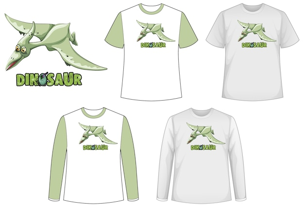 Set di diversi tipi di maglietta con cartone animato di dinosauro