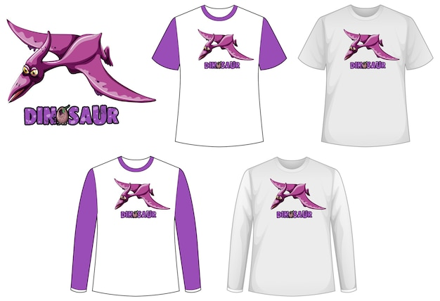 Set of different types of shirt with dinosaurs