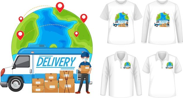 Set di diversi tipi di camicie con lo schermo del logo di consegna sulle camicie