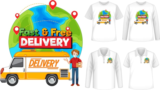Set of different types of shirts with fast and free delivery logo screen on shirts
