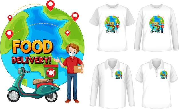 Set di diversi tipi di camicie con schermo del logo di consegna di cibo sulle camicie