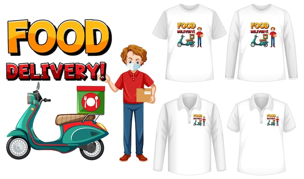 Set di diversi tipi di camicie con schermo del logo di consegna cibo sulle camicie