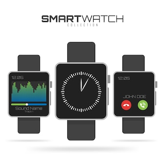 Set of different types of smart watches.
