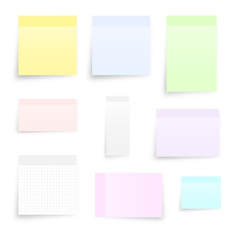 Set of different types sticky note isolated on white.