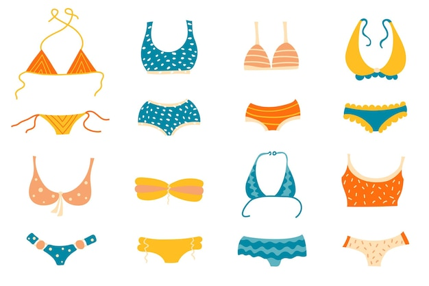 Set of different types of swimsuits or bikini tops and bottoms