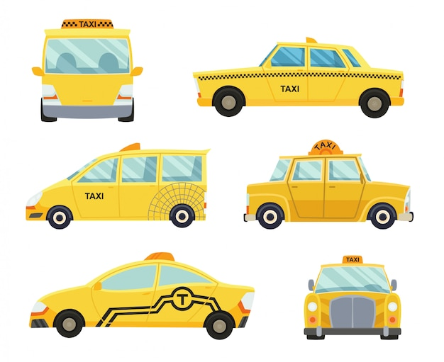 Set of different types of taxi cars