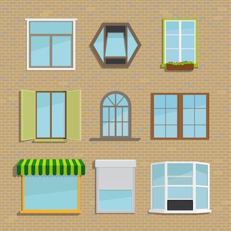 Set of different types of windows. house and architecture, blinds and shutters, awning and tide