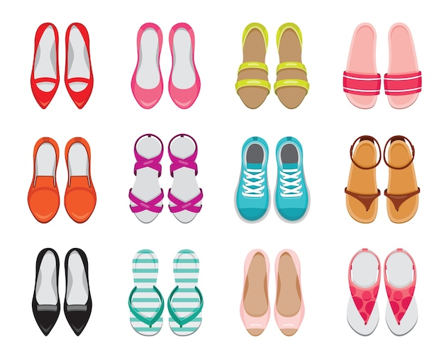 Set of different types of women's shoes pair, top view
