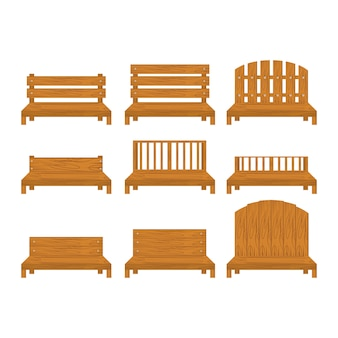 Set of different types of wooden bench