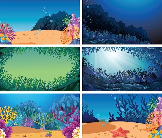 Set of different underwater background