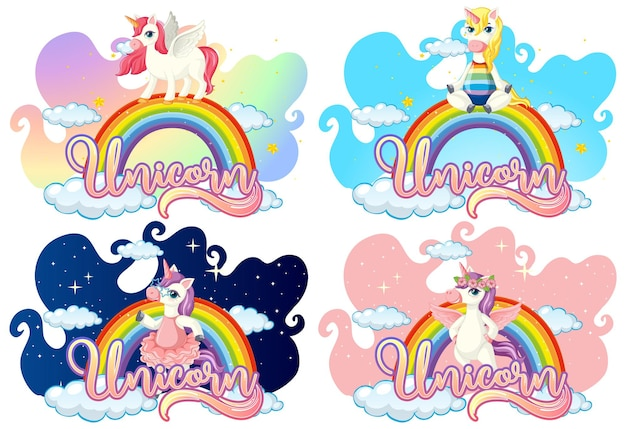 Set of different unicorn cartoon character on rainbow with unicorn font