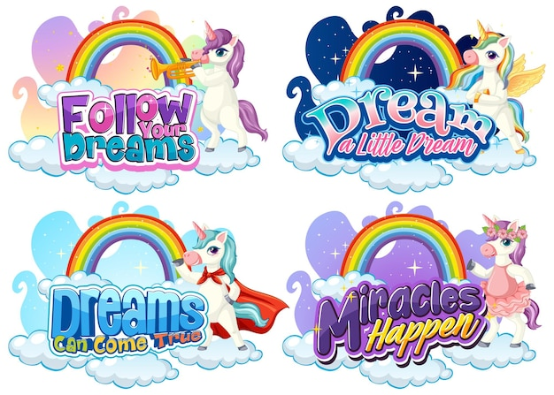 Set of different unicorn font typography with rainbows isolated