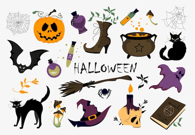 A set of different vector illustrations for halloween. clipart on a white background.