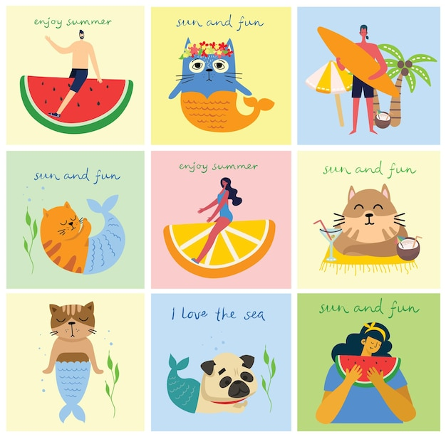 Set of different vector summer travel people and icons in the flat stye