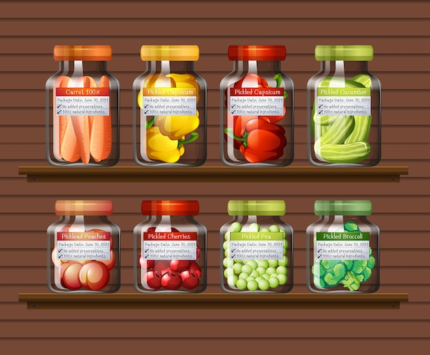 Set of different vegetables in different jars on wall shelves