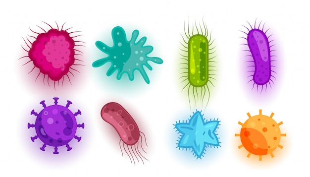 Set of different virus and bacteria shapes Free Vector