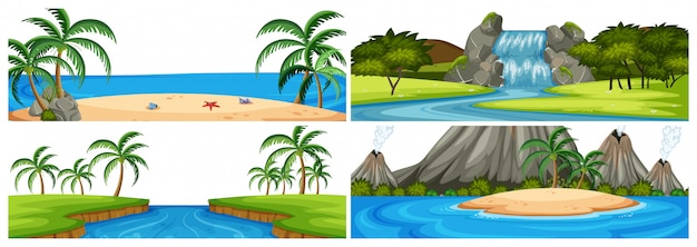 Set of different water scenes