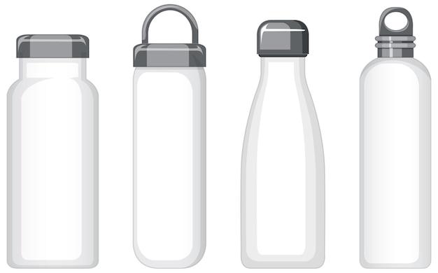Set di diverse bottiglie d'acqua in metallo bianco isolate