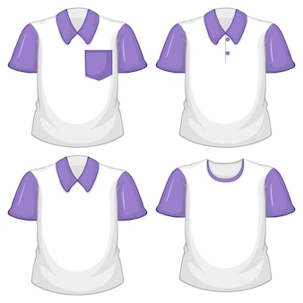 Set of different white shirt with purple short sleeves isolated