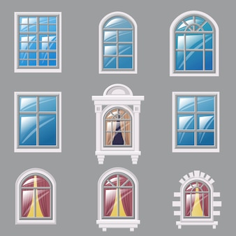 Set of different windows, element for architecture