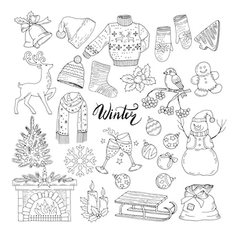 Set of different winters elements.  illustrations of holiday objects. christmas and new year hand drawn object concept