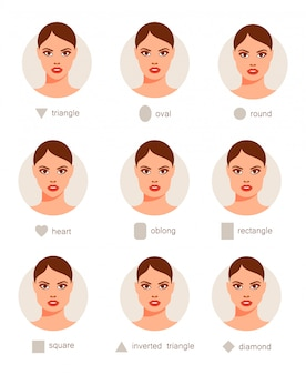 Set of different woman faces.