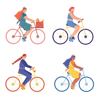 Set of different women on bicycles.