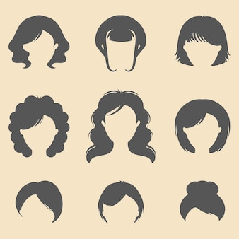 Set of different women haircuts icons in flat style.