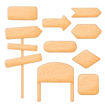 Set of different wooden signs and boards. blank and pointing arrows