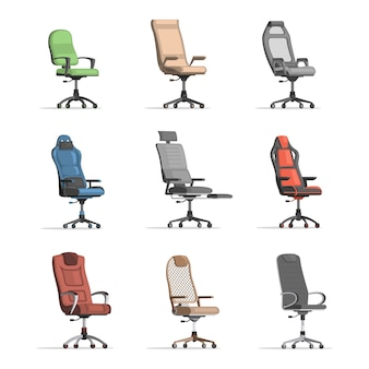 Set of different working chairs